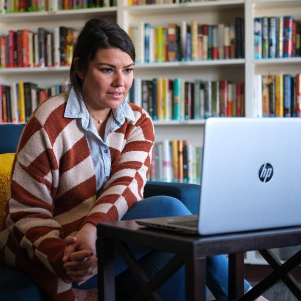 A woman conducting a video call